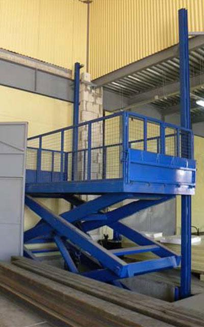Гидравлический подъемный стол установка в помещении