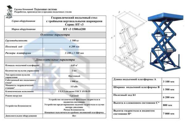 Трехножничный подъемный стол HT v3 3100x1500-1500кг