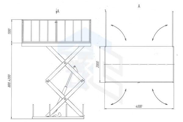 Схема двухножничного подъемного стола для магазина г/п 5000 кг рапашные калиточные створки по стороне 4000 мм